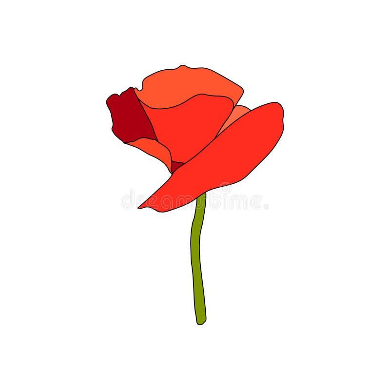 红色鸦片盛放的花和词根 o 平的剪影样式 史嘉蕾瓣 纪念日 库存例证