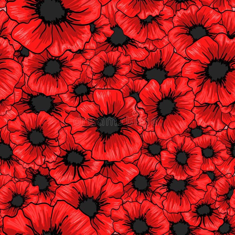 红色鸦片花无缝的样式 对织品纺织品设计 皇族释放例证