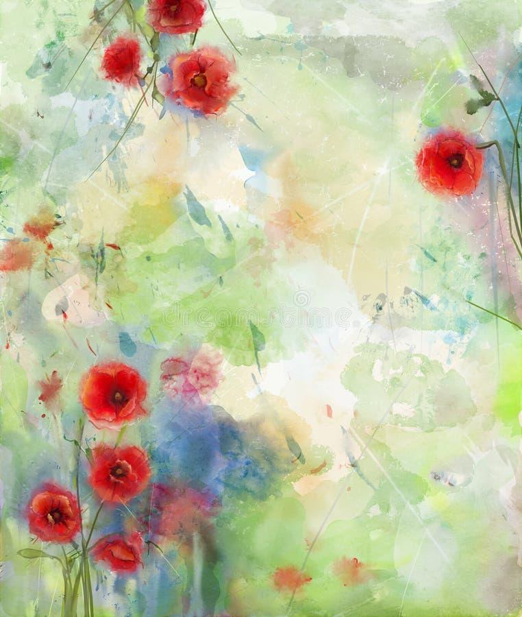红色鸦片花有风景水彩背景 库存例证