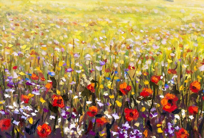 红色鸦片花田油画,黄色,紫色和白花艺术品 免版税库存图片