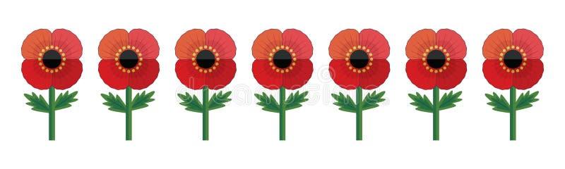 红色鸦片被隔绝的行为anzac或阵亡将士纪念日 库存例证