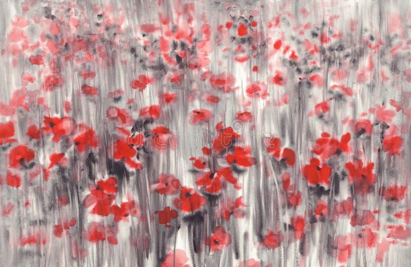 红色鸦片领域在灰色水彩背景中 库存照片