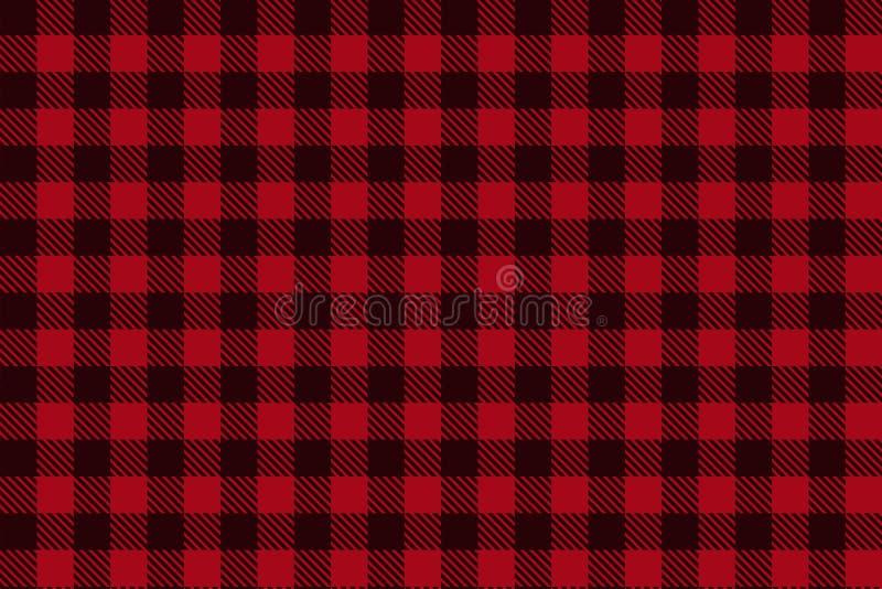 红色黑伐木工人格子花呢披肩无缝的样式 皇族释放例证