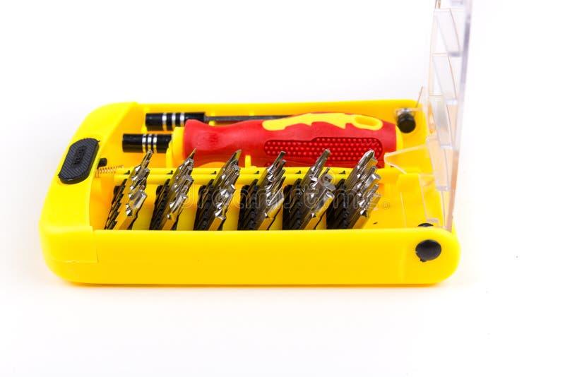 红色黑和黄色螺丝刀和工具位 图库摄影