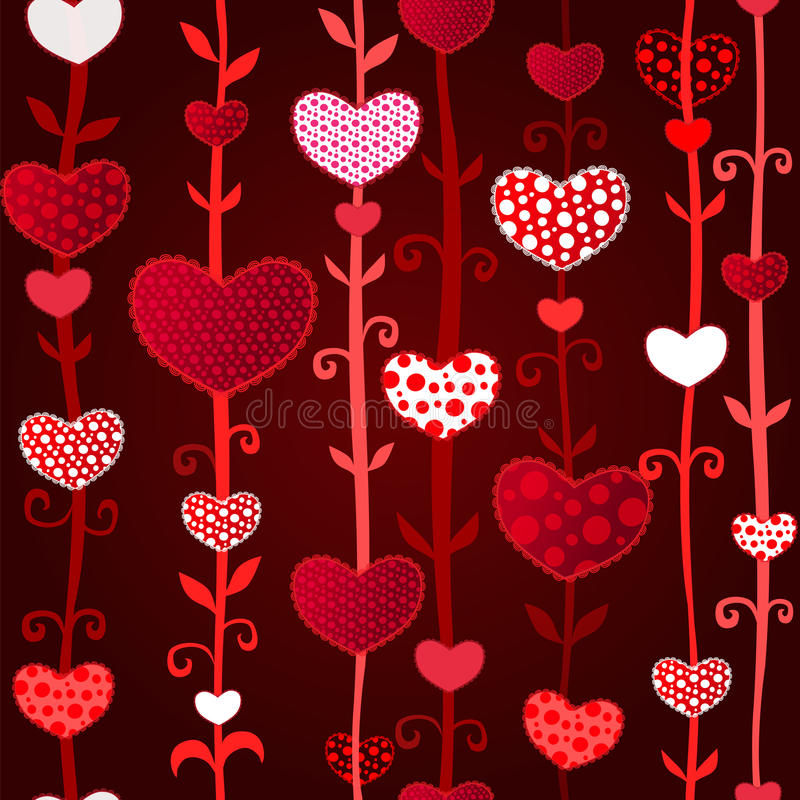 红色黑暗的爱Valentin的日无缝的模式 库存例证