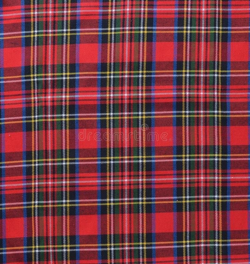 红色黑白土气格子花呢披肩织品样片纺织品backgroun 免版税库存图片