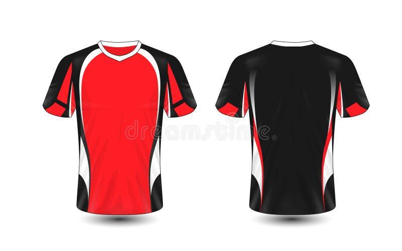 红色黑白布局e体育T恤杉设计模板 向量例证