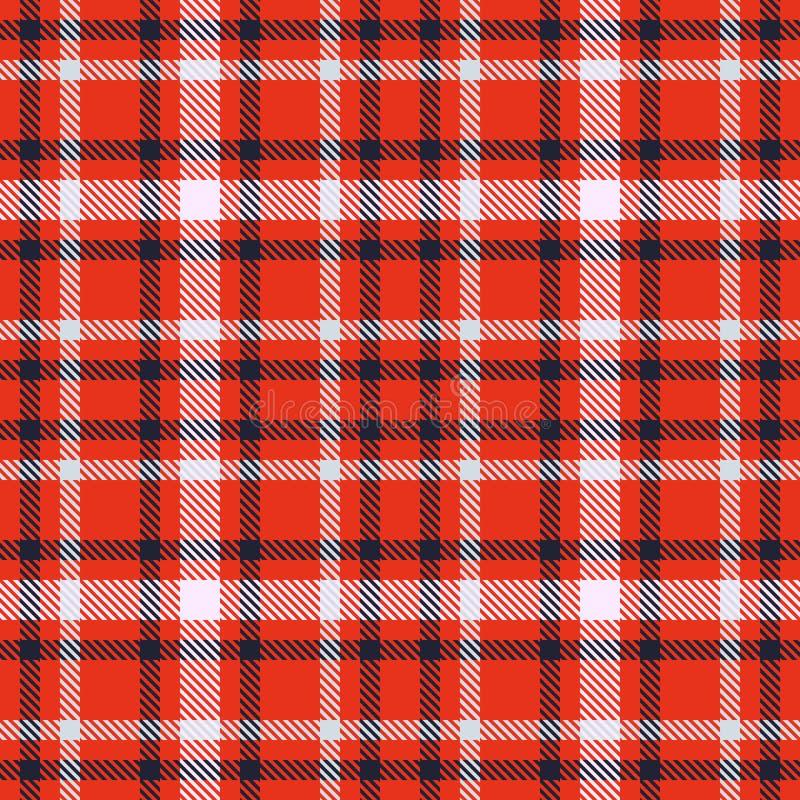 红色黑白格子呢无缝的传染媒介样式 方格的格子花呢披肩纹理 织品的几何方形的背景 皇族释放例证