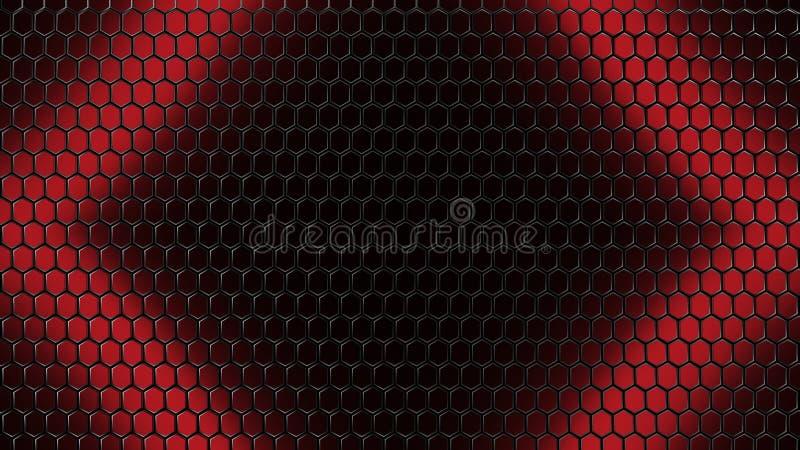 红色黑色3D例证滤网栅格背景 皇族释放例证