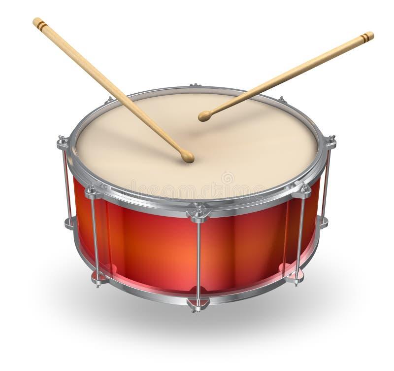 红色鼓的鼓槌 向量例证