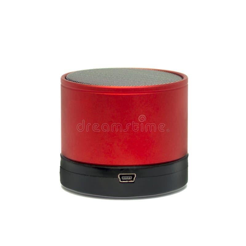 红色,便携式的超低音扬声器 库存图片