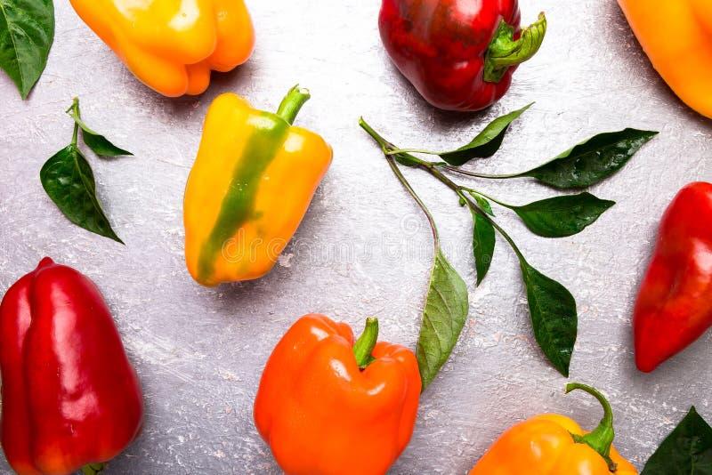 红色,橙色和黄色喇叭花在灰色背景以子弹密击 健康有机蔬菜 顶视图 艺术边界设计 框架 免版税库存图片