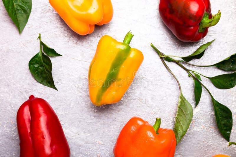 红色,橙色和黄色喇叭花在灰色背景以子弹密击 健康有机蔬菜 顶视图 艺术边界设计 框架 免版税库存照片