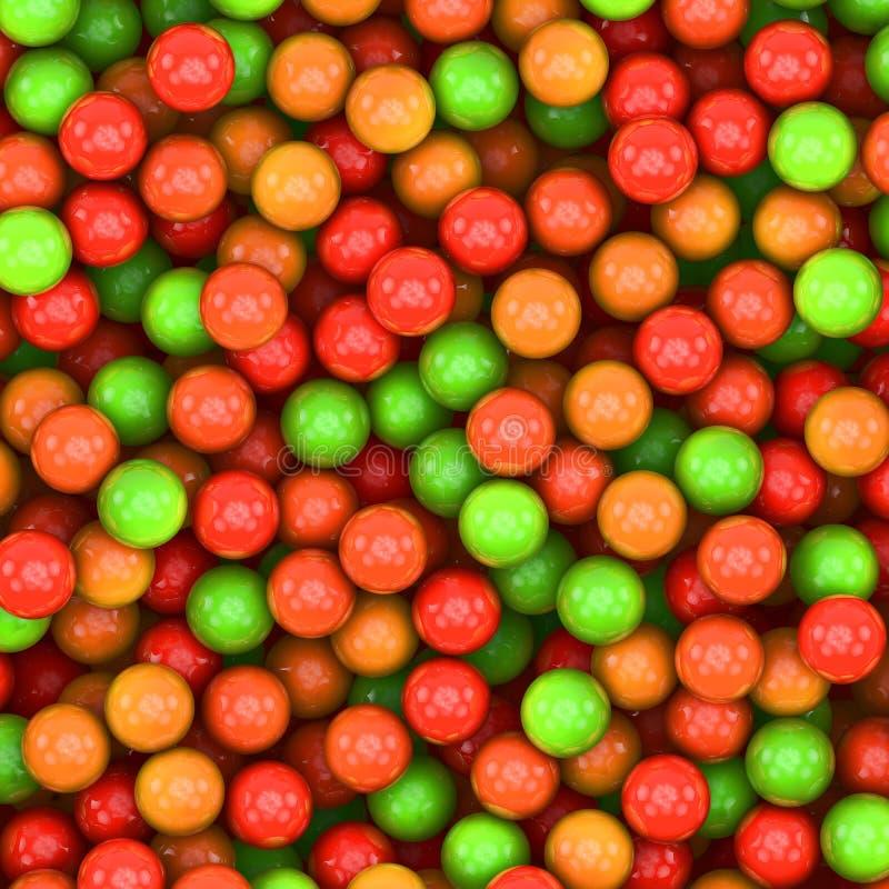 红色,橙色,绿色球背景 库存例证