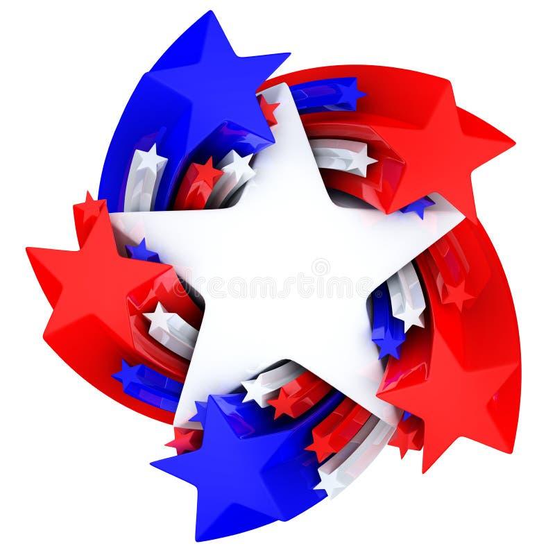 红色,白色和蓝星 向量例证