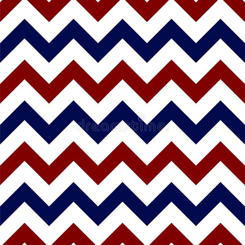 红色,白色和蓝色雪佛无缝的样式 皇族释放例证