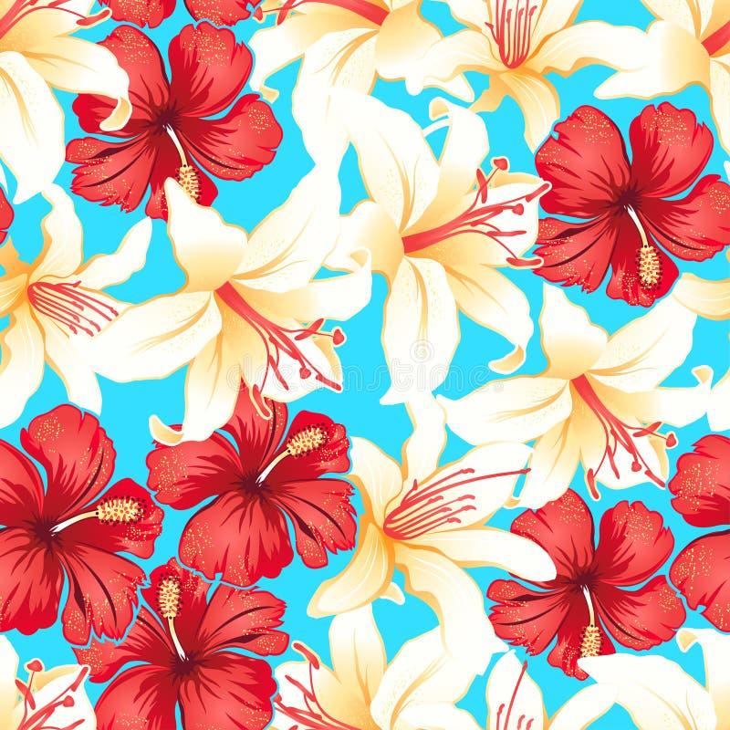红色,白色和黄色热带木槿开花无缝的样式 向量例证