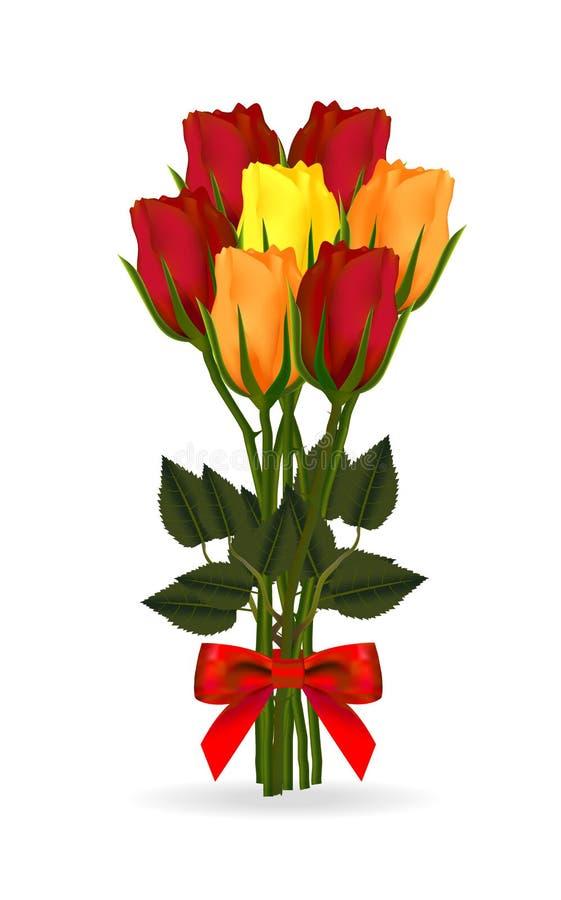 红色,黄色和橙色玫瑰花束栓与与一把现实弓的一条红色丝带,隔绝在白色背景 向量例证