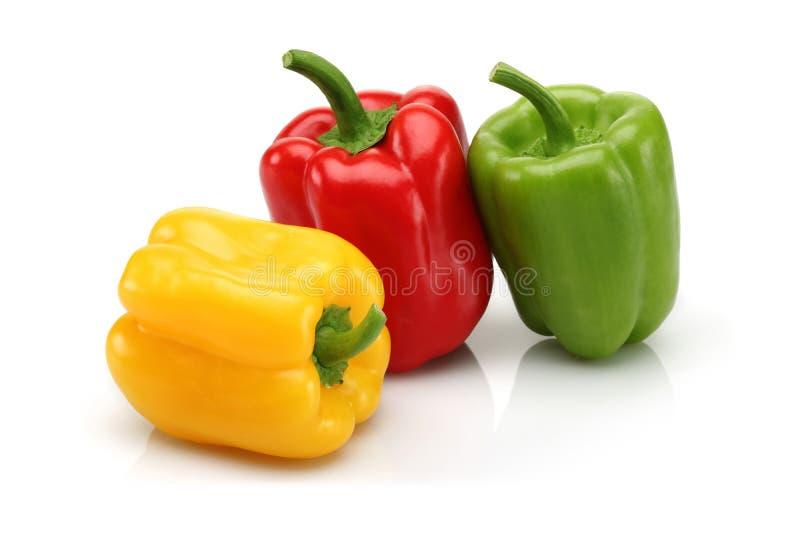 红色,黄色和绿色甜椒小组 免版税库存照片