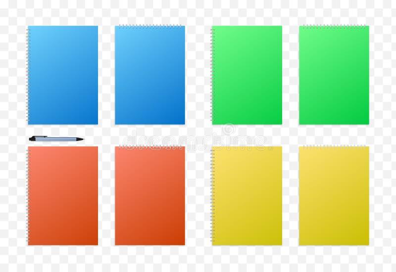 红色,黄色,绿色和蓝色闭合的A4书大模型收藏 向量例证
