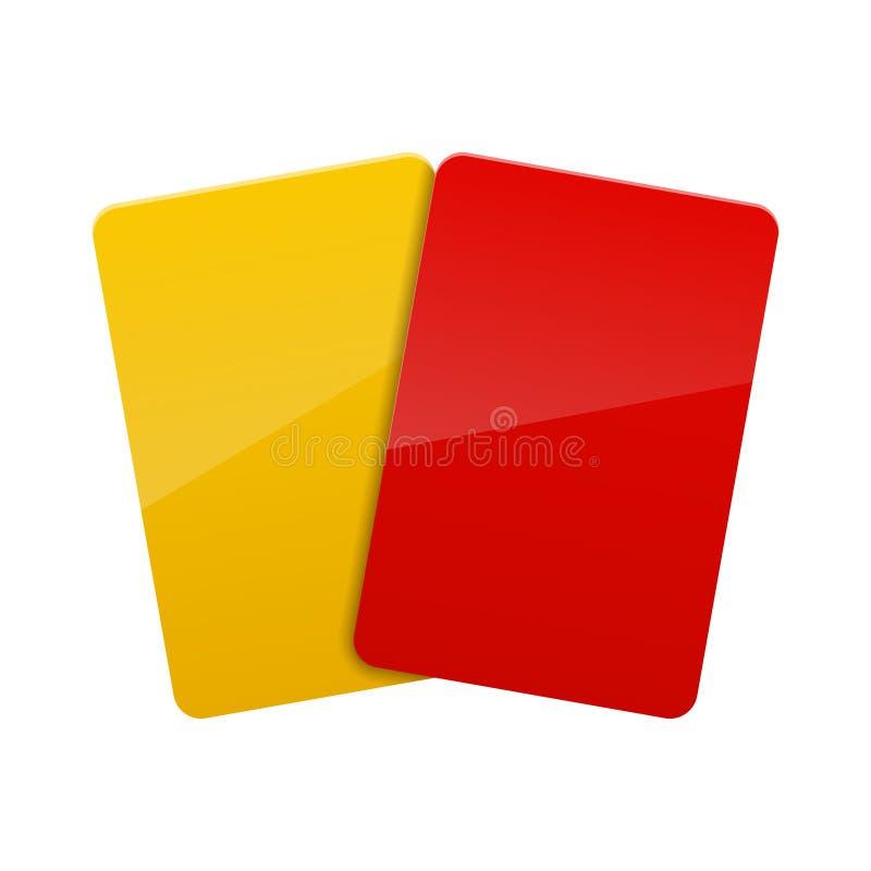 红色,黄牌 库存例证