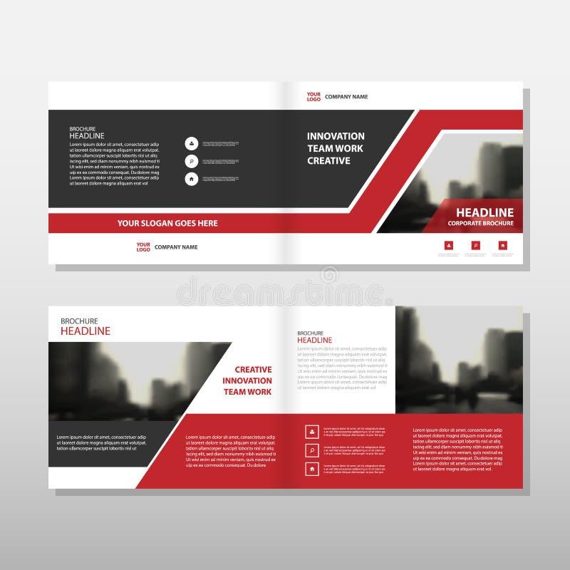红色黑三角传染媒介年终报告传单小册子飞行物模板设计,书套布局设计 库存例证