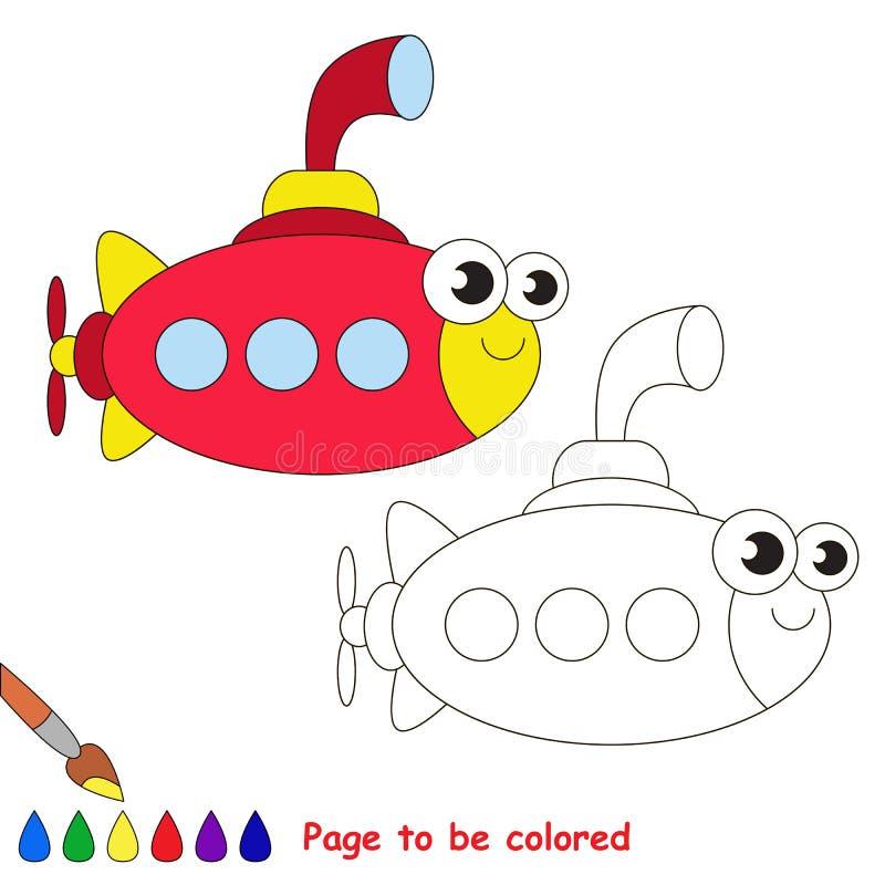 红色水下动画片 将上色的页 库存例证