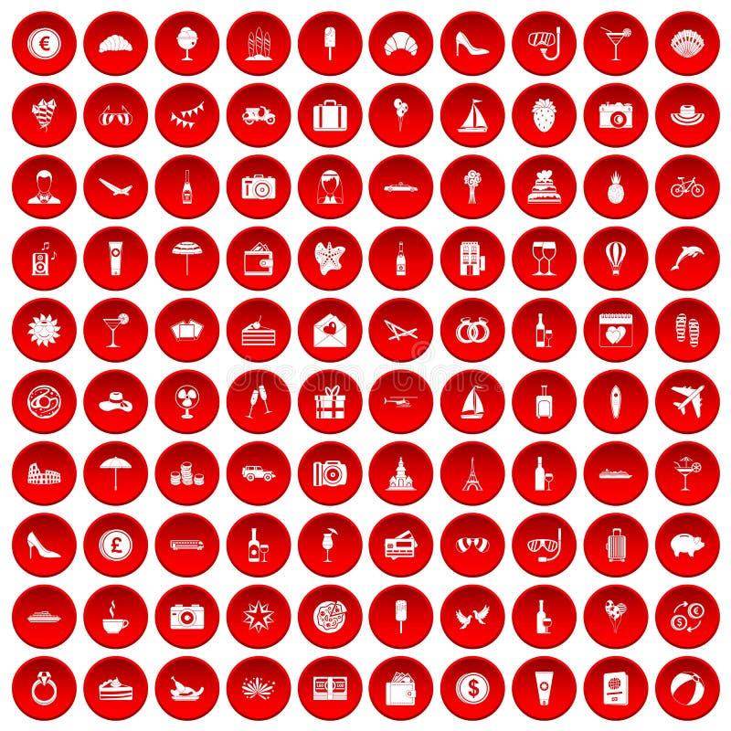红色100个蜜月的象被设置 向量例证