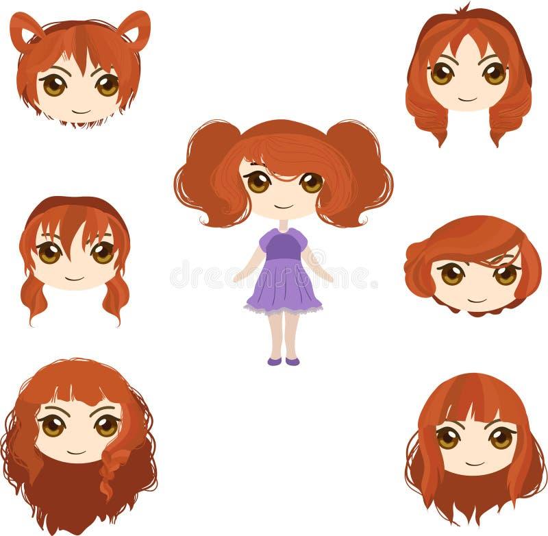 红色头发集合 图库摄影