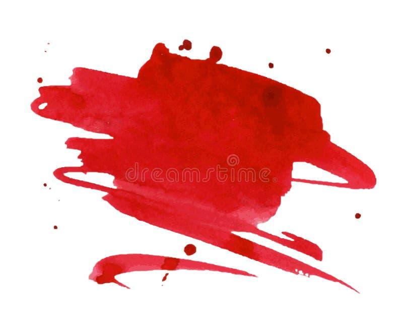 红色水彩污点以水彩画油漆污点 向量例证