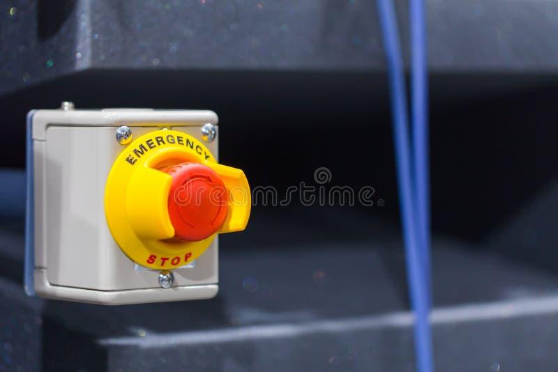 红色紧急按钮或停止键手新闻的 工业机器的停止键 免版税图库摄影