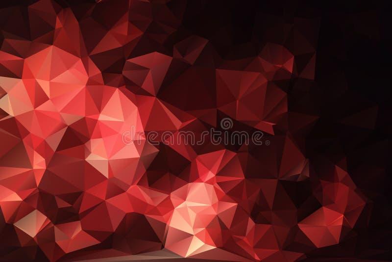 红色黑抽象背景多角形。 皇族释放例证
