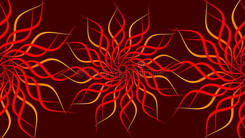 红色&橙色转动的被仿造的五颜六色的螺旋,摘要挥动背景 库存例证