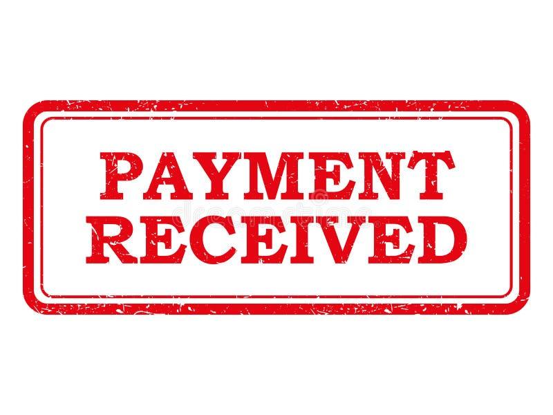 红色付款被接受的邮票或贴纸 库存例证