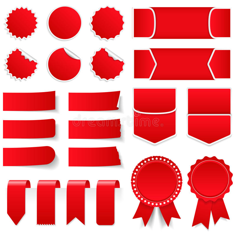 红色价牌和贴纸 向量例证