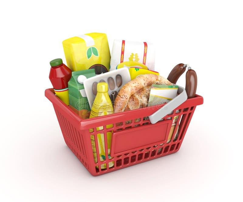 红色购物的赖买丹月篮子 免版税库存图片