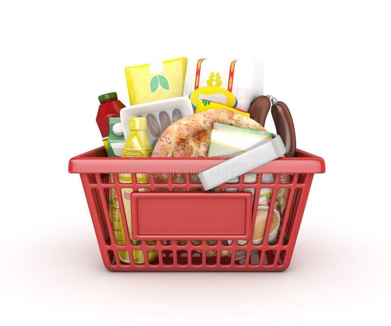 红色购物的赖买丹月篮子 免版税库存照片
