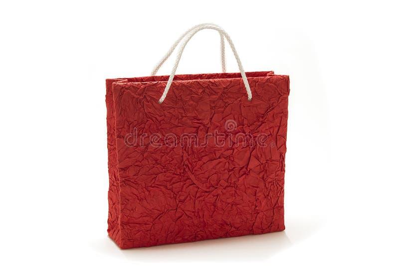红色购物袋孤立 库存照片