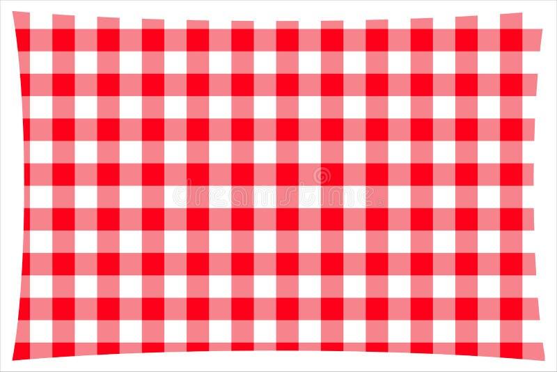 红色&白色方格的厨房用桌布料 皇族释放例证