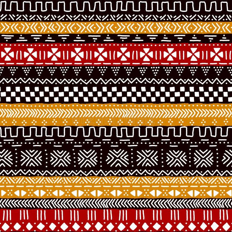黑红色黄色和白色传统非洲mudcloth织品无缝的样式,传染媒介 皇族释放例证