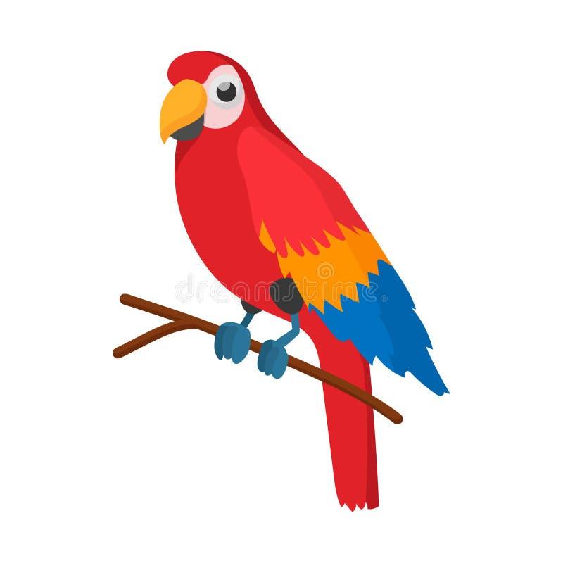 红色巴西鹦鹉象,动画片样式 向量例证