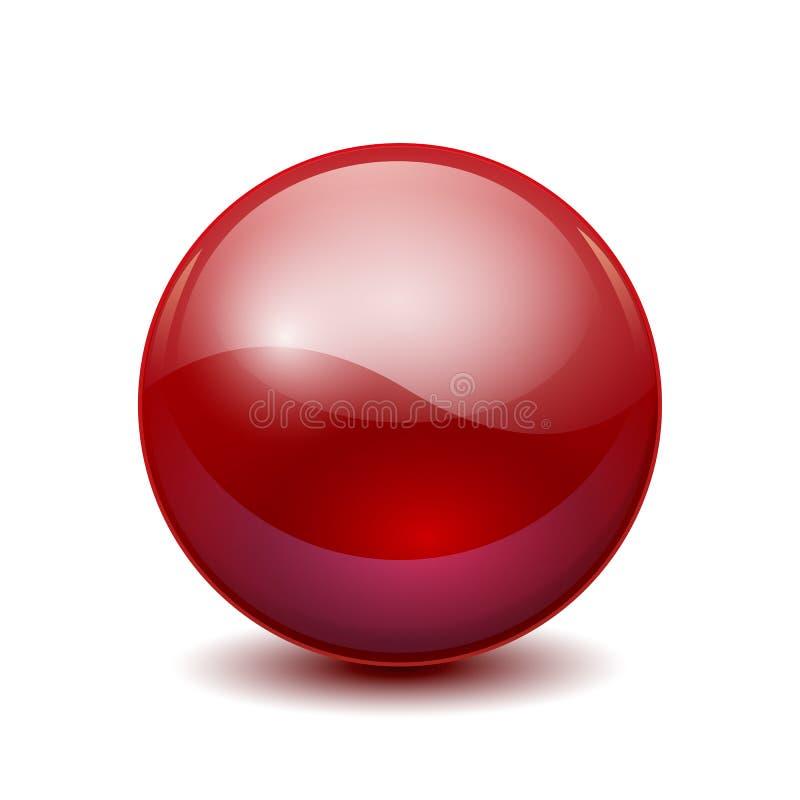 红色3D水晶不可思议的球形 与阴影的玻璃透明球–传染媒介 向量例证
