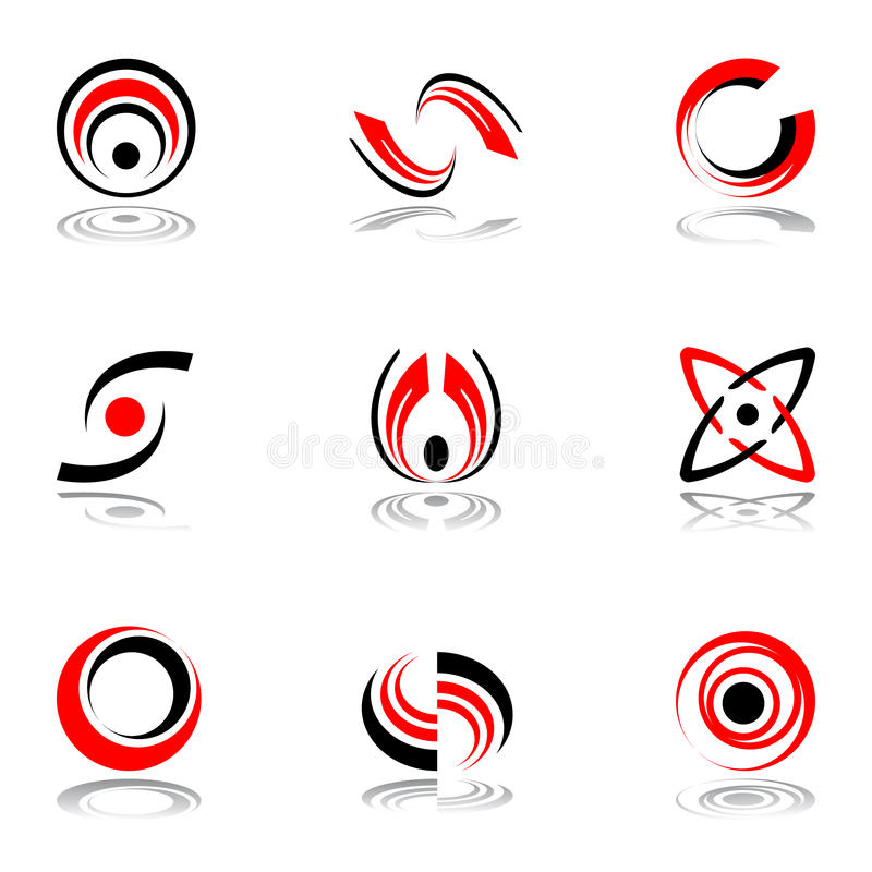 红色4个黑色颜色设计的要素 皇族释放例证