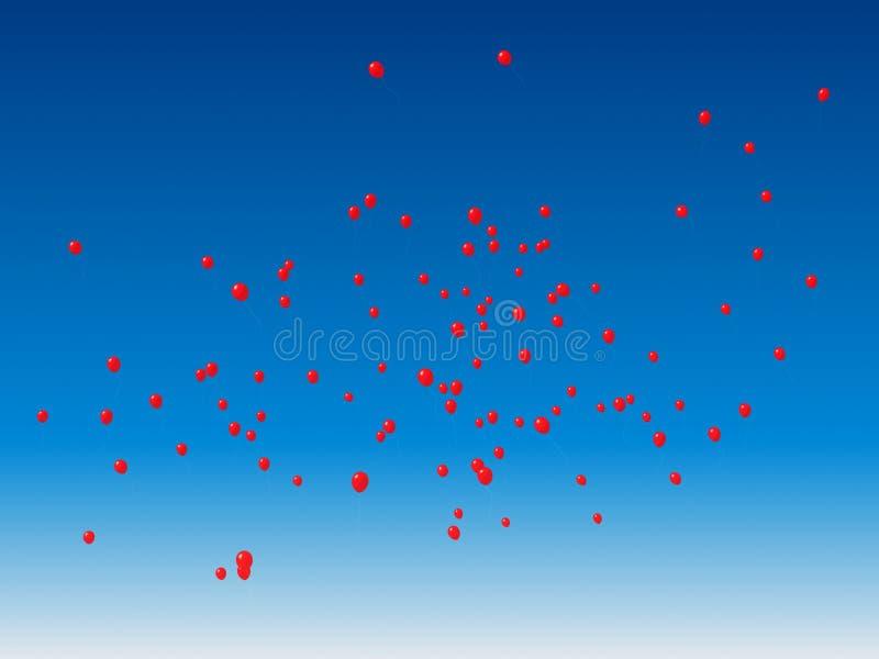 红色99个的气球 库存例证