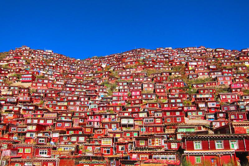 红色Buddist房子 免版税库存图片