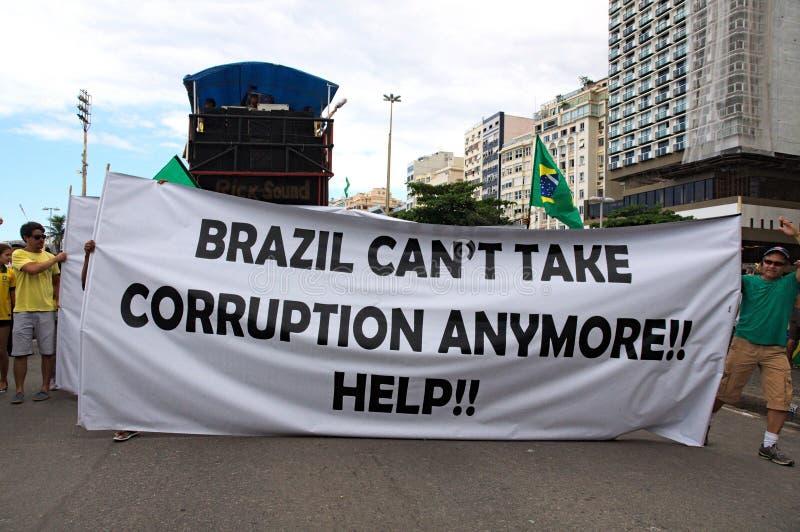 红色flowerManifestation在13/03/16的里约热内卢 反对Dilma (PT)的当前政府 免版税库存图片