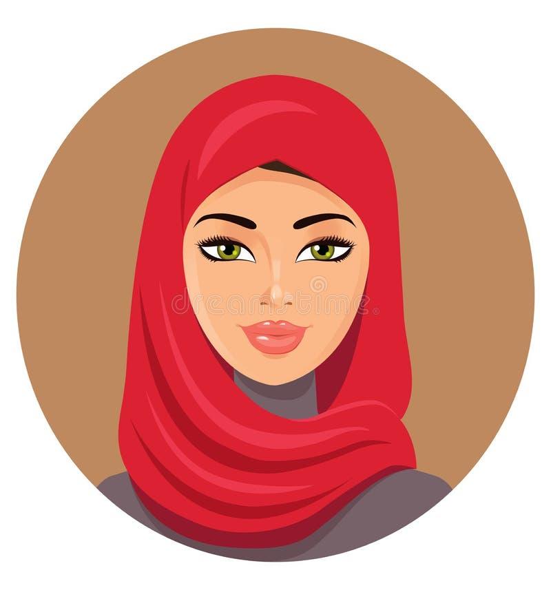 红色hijab的阿拉伯回教妇女 也corel凹道例证向量 库存例证