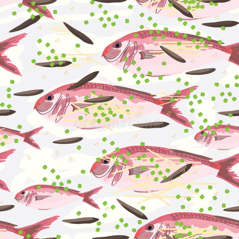 绯红色jobfish蒸汽无缝的样式 库存例证