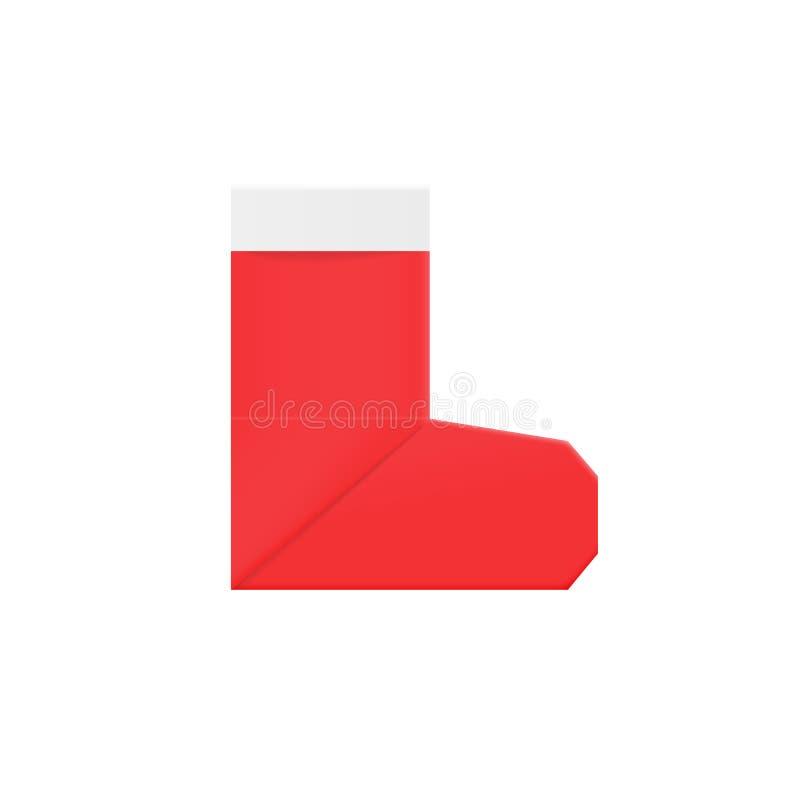 红色origami圣诞老人袜子圣诞装饰和惊奇标志 向量例证