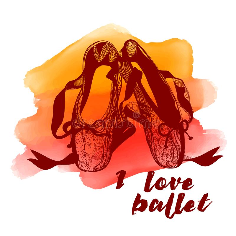 红色Pointe鞋子 抽象背景水彩 芭蕾易使用海报的系列 库存例证